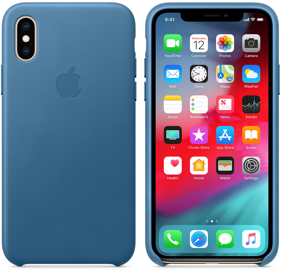 Чехол Apple Leather (MTET2ZM/A) для iPhone Xs (Cape Cod Blue)