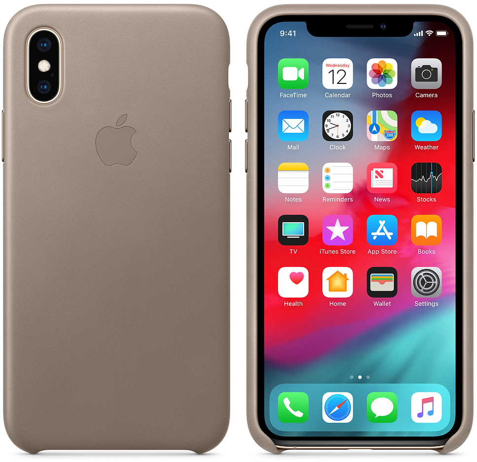 Чехол Apple Leather (MRWL2ZM/A) для iPhone Xs (Taupe)