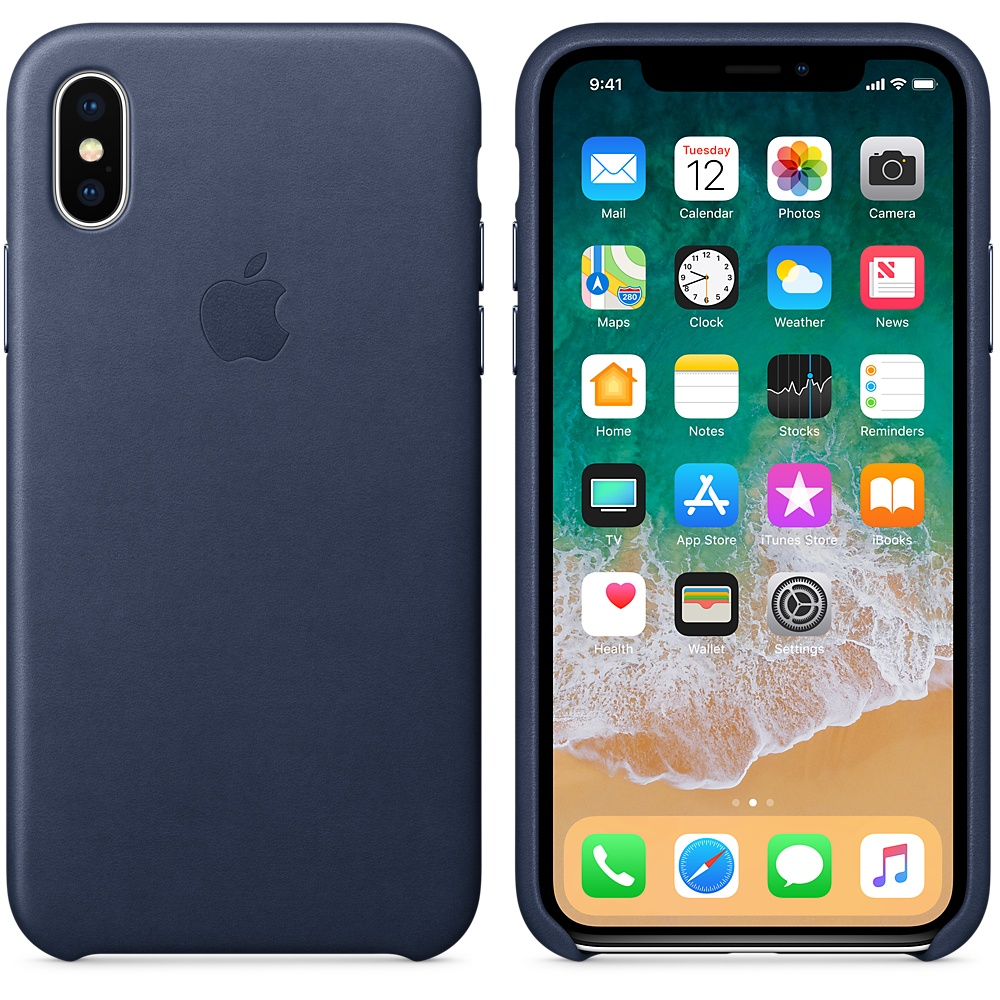Чехол Apple Leather Case (MQTC2ZM/A) для Apple iPhone X (Midnight Blue)