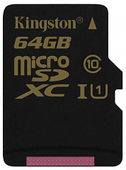 Купить Карта памяти Kingston microSDXC 64Gb Class 10 U1 UHS-I (SDCA10/64GBSP)