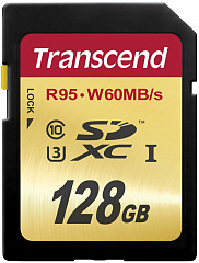 Купить Карта памяти Transcend SDXC Ultimate Class 10 U3 UHS-I 128Gb TS128GSDU3 (Gold)