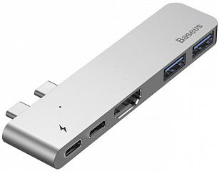 Купить USB-концентратор Baseus Thunderbolt C+ Dual Type-C to USB3.0/HDMI/Type-C (CAHUB-B0G) для MacBook Pro 2016/2017 (Deep Space Grey)