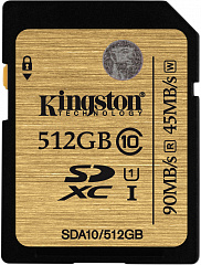 Купить Карта памяти Kingston SDXC 512Gb Class 10 U1 UHS-I SDA10/512GB (Black)