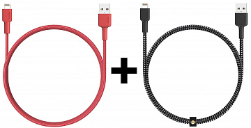 Купить Комплект кабелей Aukey CB-BAL3 USB to Lightning 1.2m 2 pack (Black/Red)