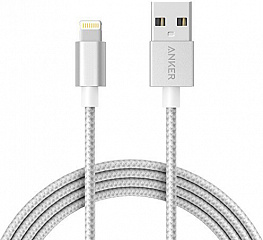 Купить Кабель для iPod, iPhone, iPad Anker Nylon-Braided Lightning to USB 1.8 m A7114H41 (Silver)
