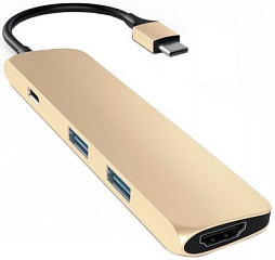 Купить Мультипереходник Satechi Slim Aluminum Type-C Multi-Port Adapter 4K HDMI (Gold)