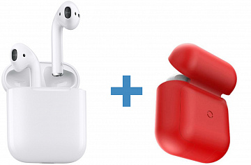 Купить Комплект Apple AirPods + Baseus Wireless Charger Case (White/Red)