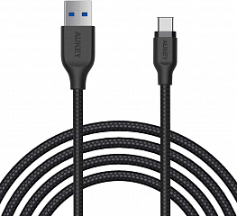 Купить Кабель Aukey Braided Nylon (CB-AC2) USB-C to USB-A 3.1 (Black)