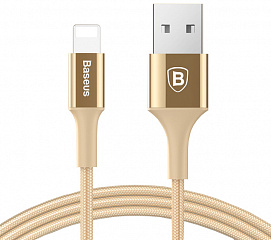 Купить Кабель для iPod, iPhone, iPad Baseus Shining Cable with Jet metal 1m USB to Lightning CALSY-0V (Gold)