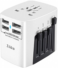 Купить Сетевая зарядка Zikko Worldwide Travel Adaptor BST631 4 USB (Pearl White)