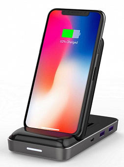 Док-станция HyperDrive Qi Wireless Charger & USB-C Hub 7.5W (Black)