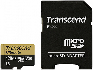 Купить Карта памяти с адаптером Transcend microSDXC Ultimate U3M UHS-I Video Speed Class 30 128Gb TS128GUSDU3M (Gold)