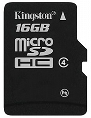 Купить Карта памяти Kingston microSDHC 16Gb Class 4 SDC4/16GBSP (Black)