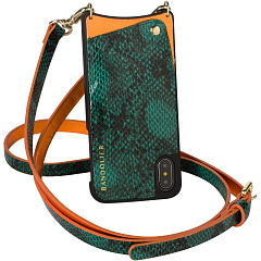 Купить Чехол Bandolier Emma для iPhone X/Xs (Green Snake/Orange)