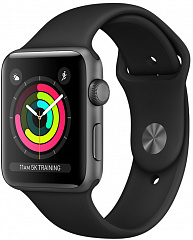 Купить Умные часы Apple Watch Series 3 42 mm (Space Gray Aluminum/Black Sport Band)