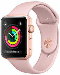 Купить Умные часы Apple Watch Series 3 42 mm (Gold Aluminum/Pink Sport Band)